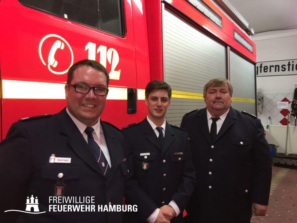 Die neue Wehrführung der FF Fuhlsbüttel mit Wahleiter Andre Wronski (v.l.n.r: Dennis Funck, Tobias-Malte Kretzmann, Andre Wronski)
