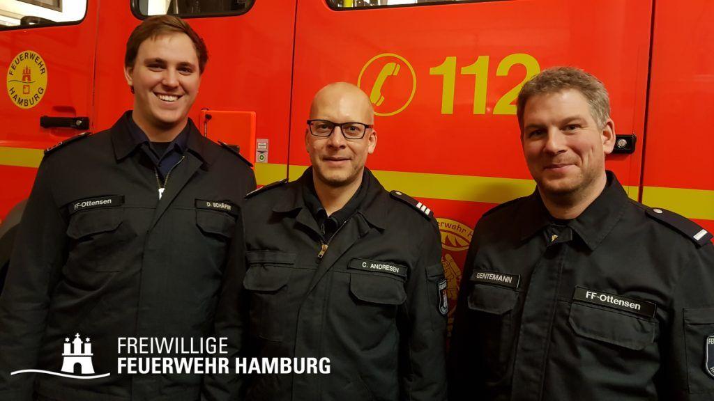 WFV Daniel Schäfer (li.), Berf/V Christian Andresen und WF Fabian Gentemann