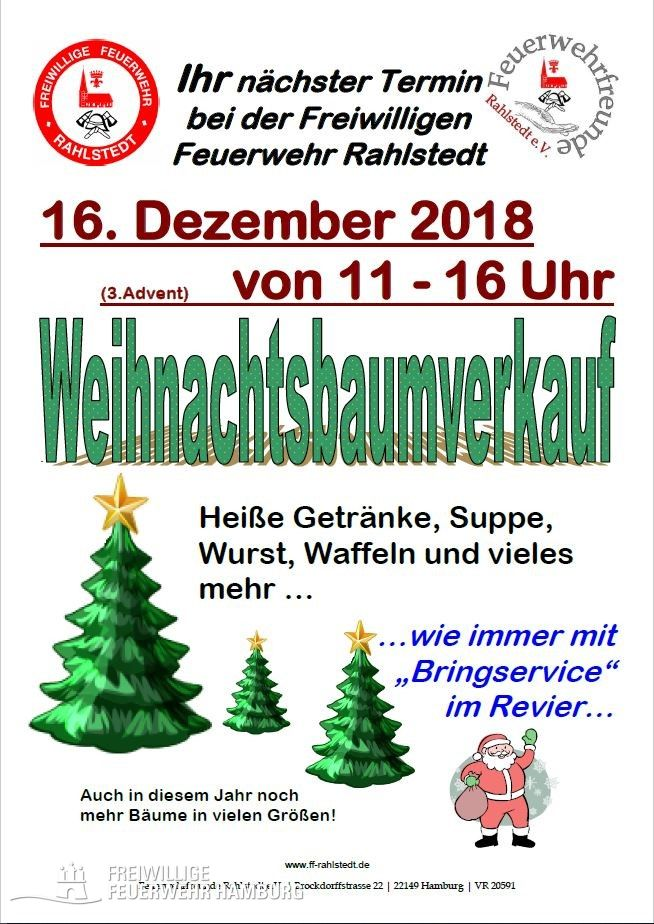 Tannenbaumverkauf bei der ff rahlstedt freiwillige feuerwehr hamburg - Weihnachtsbaumverkauf hamburg ...