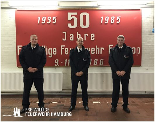 V.l.n.r. BERF Unterelbe Jens Rehder, WF Lars Benitt, WFV Dirk Quast