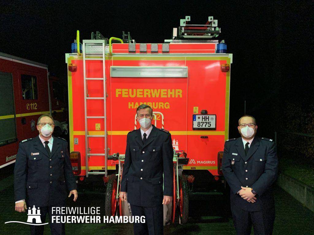 vlnr: Bereichsführer Henning Heidmann, WFV Dajo Radeke, WF Hendrik Wycisk